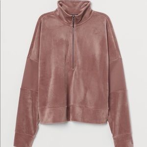 H and M Sport Velour dusty rose quarter zip jacket